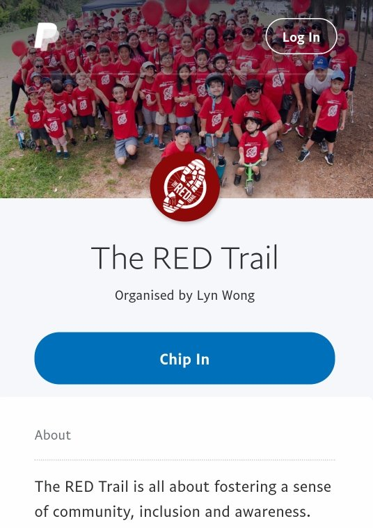 The RED Trail PayPal.Me Money Pool button