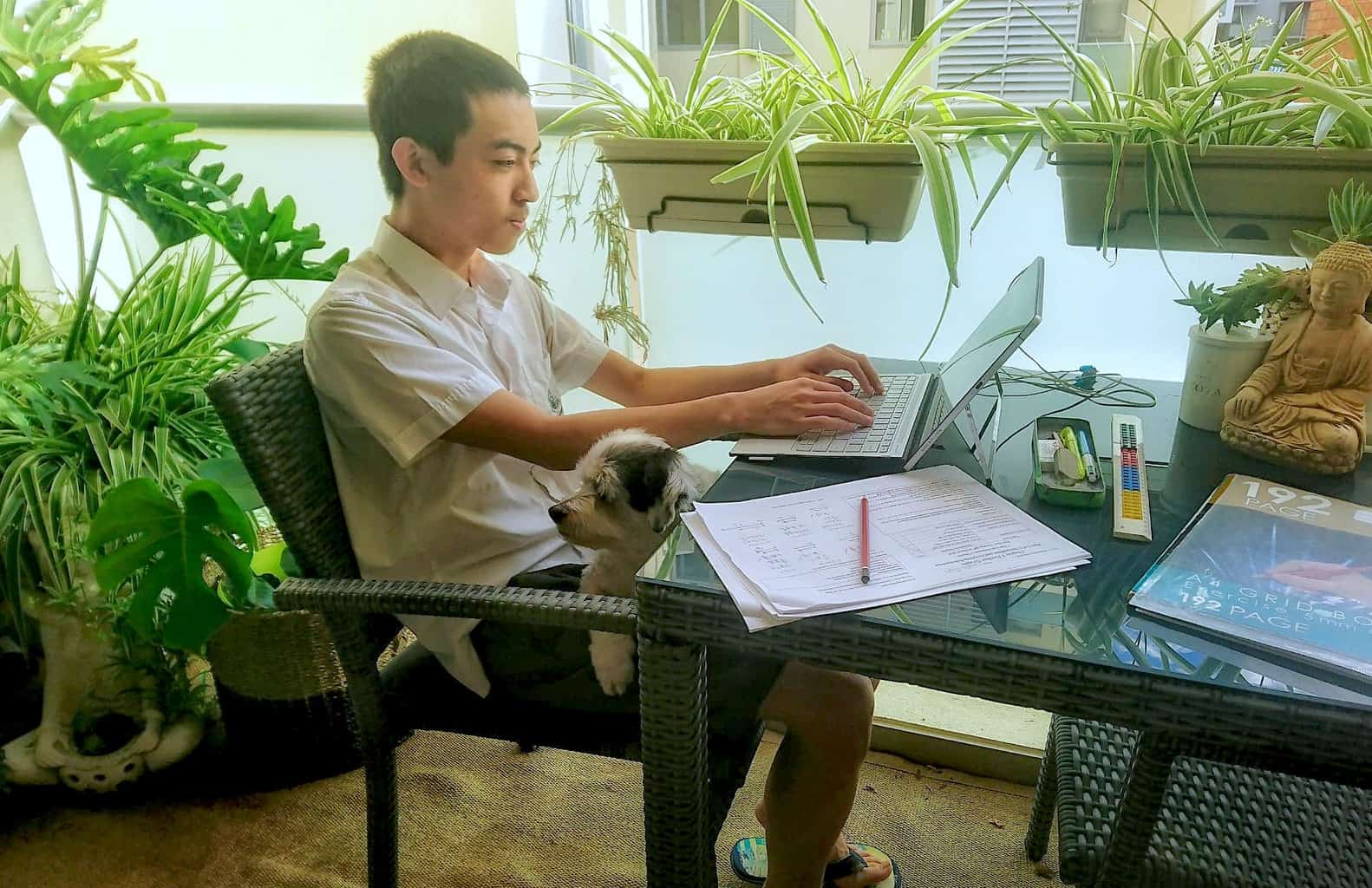 Jayden Huynh studying for Year 11 during COVID